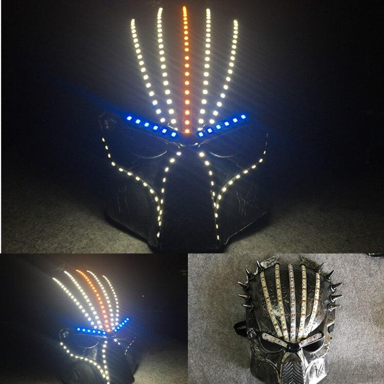 Halloween crâne masque lumière LED Up fête drôle masque Festival Cosplay Costume fournitures lumineux brillant masque éclairage Prop