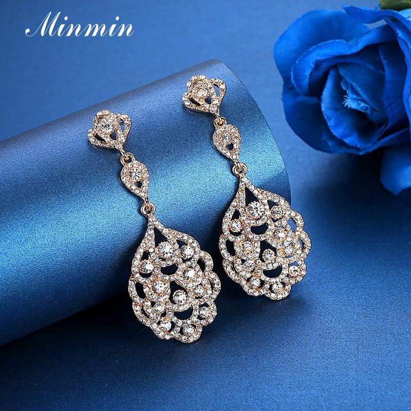 Vathë Minmin Crystal të gjata për femra Vathë të varur me ngjyra - Bizhuteri të modës - Foto 4