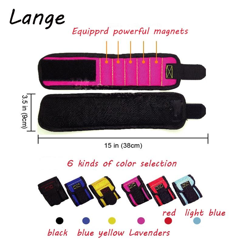 Lange Strong Magnetic Magnet Wristband Pocket Wrist Support Tool Bag Hand Bracelet Pouch Bag Screws Drill Holder Holding A28