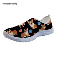74705b37d Nopersonality Black Corgi Dog Print Loafers For Women Breathable Female  Ladies Claw Mesh Shoes Lovely Slip