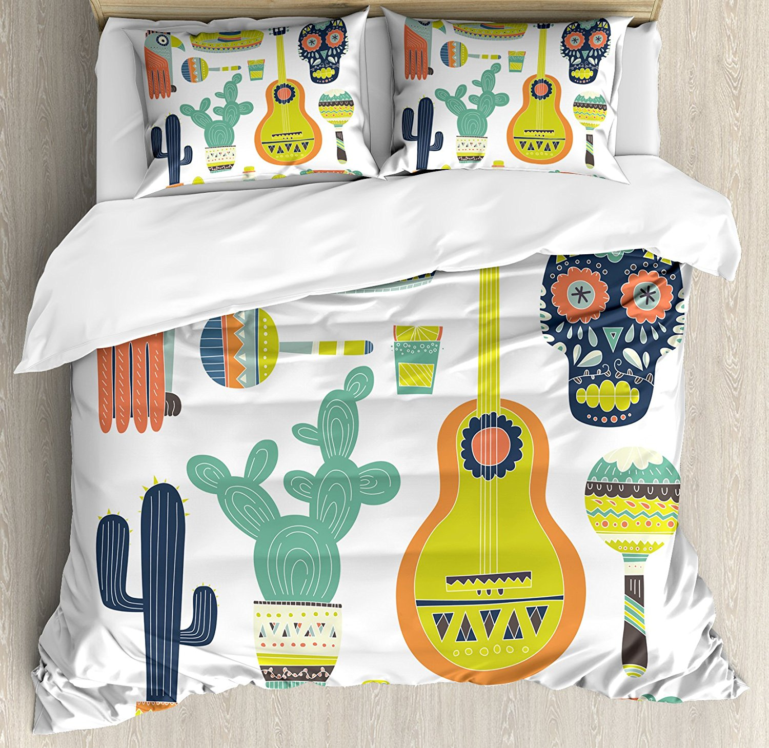 Fiesta Duvet Cover Set Symbols from Mexico Guitar Face Aztec Mask Tequila Skull Musical Instruments Taco 4 Piece Bedding Set