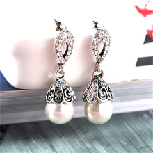 CRLEY Antique Freshwater White Pearl Drop Earrings Elegant Geometric Round Dangle Jewelry Natural For Women Gift