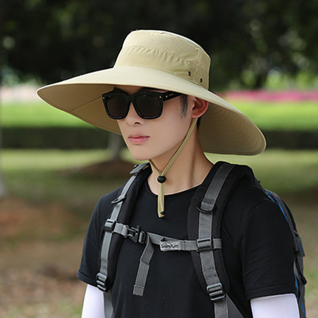 2e1ec53d 2019 New Men Solid Bucket Hat Large Wide Brim Military Hats Chin Strap  Fishing Cap Jungle