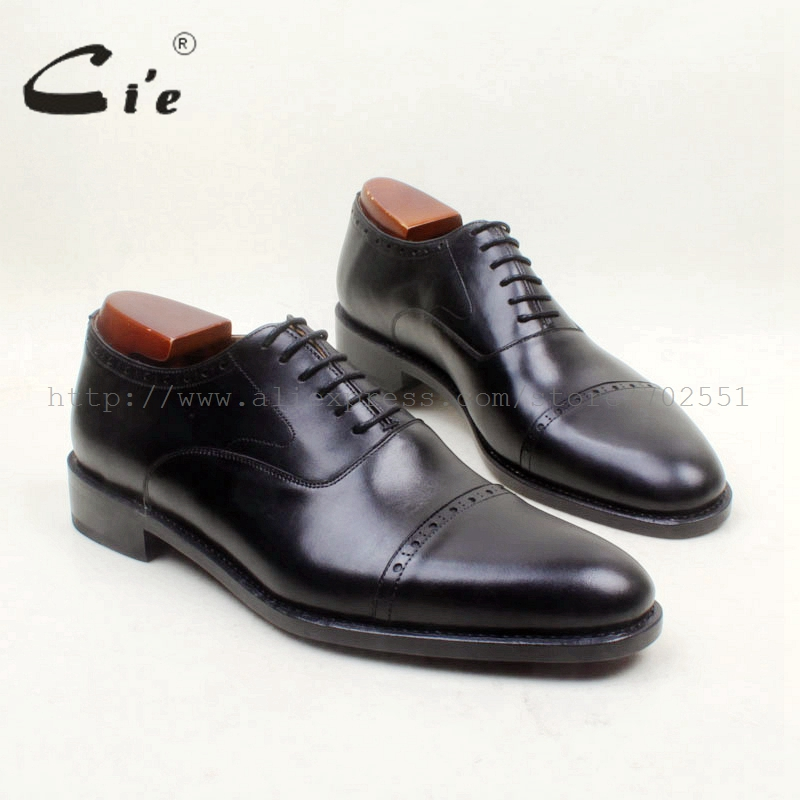 cie Round Cap Toe Lace Up Black Work Career Full Grain Genuine Calf Leather Outsole Breathable