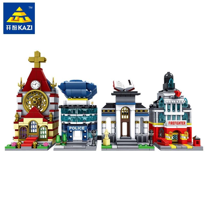 4 Styles KAZI Mini Architecture Building Blocks Toys for Children [2 IN 1] Plastic DIY Assembling Bricks Educational Block Sets 80pcs 2x2 basic high bricks 2 2 4 holes diy building blocks toys
