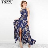 Floral Print Women Summer Maxi Dress 2017 Navy Boho Style Halter Backless Long Split Beach