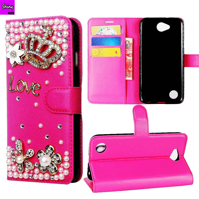Diamond Bling Flip Leather Pouch Case For iPhone X 8 Plus 10 7 PLUS 6 6S I6 SE 5 5S Wallet Stand Skin For Samsung S9 S8 Plus
