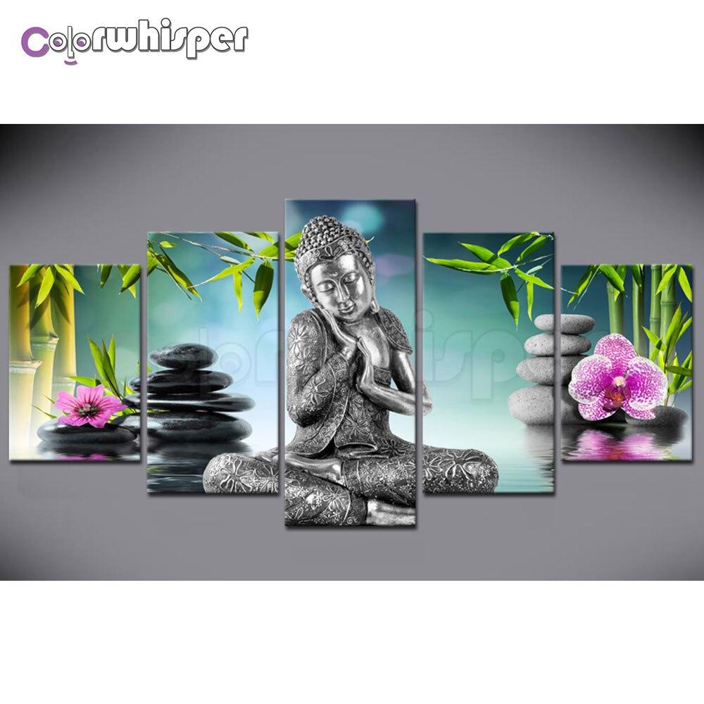 Алмаз живопись полный квадратный/круглый дрель 5D Daimond картина 5 шт. Будды Zen Bamboo водная мозаика вышивки крестом кристалл 822