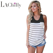 2017 New Sexy Casual Style Tank Tops For Women Fashion Stylish Striped  Block Racerback Tank Top LC250174 blusa de renda