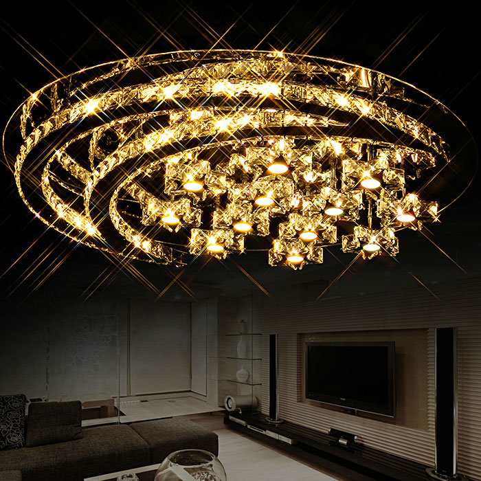 LED 110-220 V romantique art design lune étoile combinaison plafonniers encastré K9 cristal plafonniers
