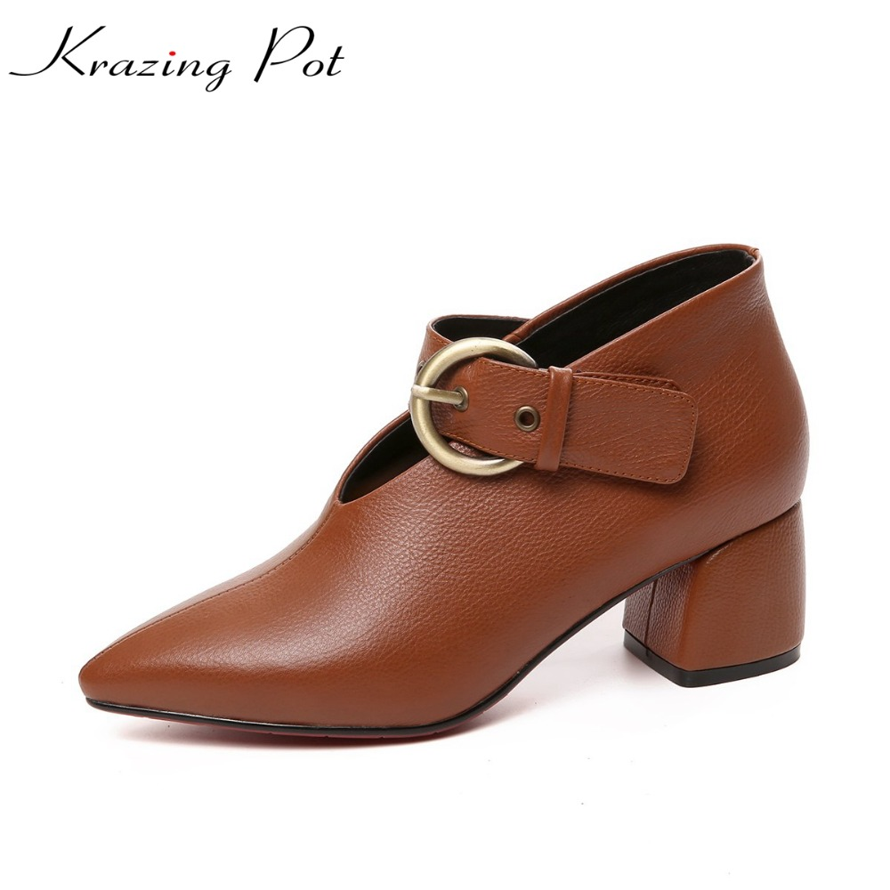 KRAZING POT new vintage cow leather original design brand high heels women pumps pointed toe autumn winter office lady shoes L27 белый город булька котенок филипок и другие рассказы для детей