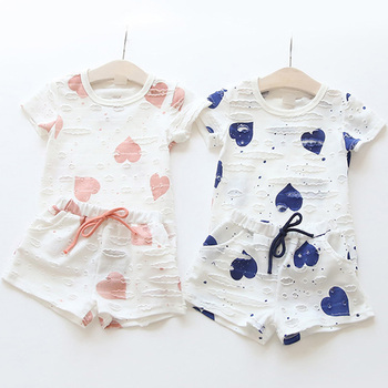 2pcs/sets,Casual Kids Clothing Baby Girls Clothes Sets Summer Heart Printed Girl Tops Shirts + Shorts Suits Children's Clothing 5