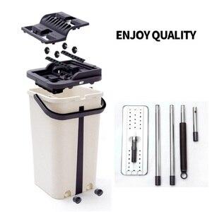 Image 2 - Mop da limpeza do assoalho do mop do aperto liso e mop da mão livre da cubeta do mop de microfibra que torce o mop molhado ou seco do uso
