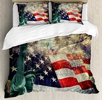 American Flag Duvet Cover Set, Composite Photo of States Idols with Fireworks on Background 4th of July, 4 Piece Bedding Set