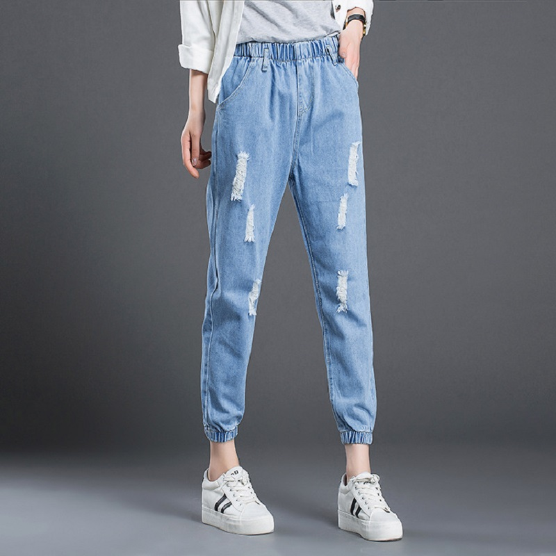 Spring new leg opening banded ankle-length denim harem pants fashion ripped vintage distressed elastic waist jeans for women new summer vintage women ripped hole jeans high waist floral embroidery loose fashion ankle length women denim jeans harem pants
