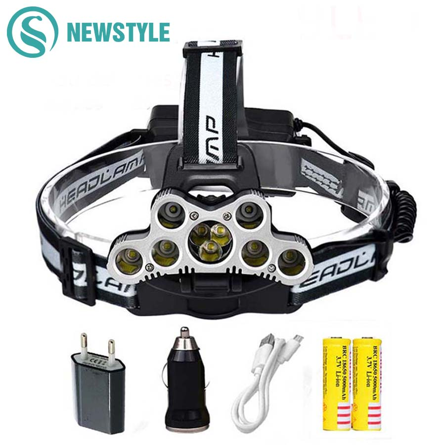 7leds/9leds LED Headlamp XPE-Q5+XMLT6 Headlight USB Rechargeable Head Lamp Head Light 18650 Batteries Power LED Torch flashlight usb rechargeable headlight cob led headlamp 3 modes head torch flashlight for camping use 2 18650 batteries