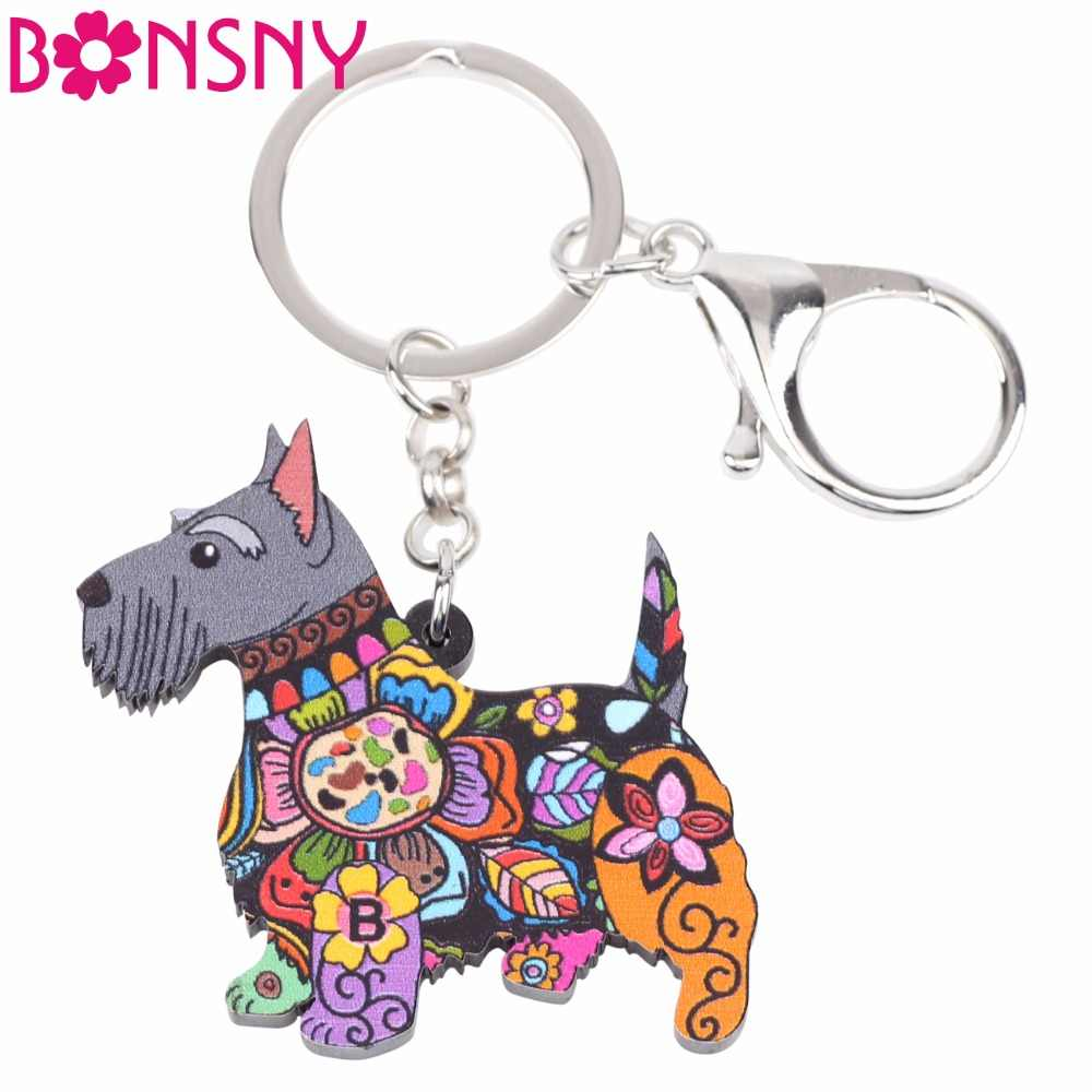 Bonsny Acrylic Animal Jewelry Aberdeen Scottish Terrier Dog Key Chain Key Ring Gift For Women Girl Bag Charm Keychain Pendant