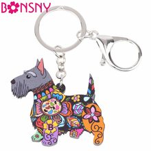 Bonsny Acrylic Animal Jewelry Aberdeen Scottish Terrier Dog Key Chain Key Ring Gift For Women Girl Bag Charm Keychain Pendant(China)