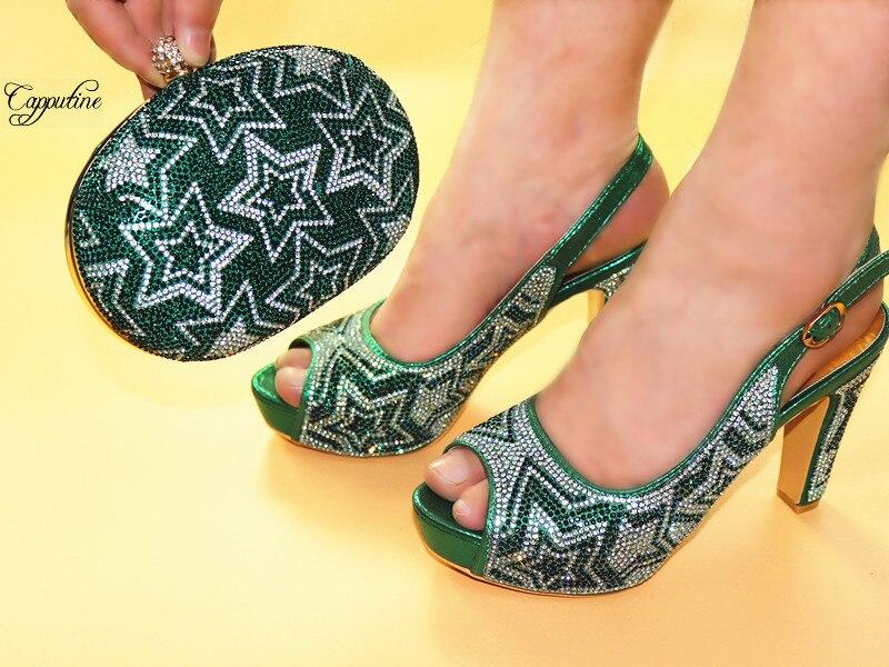 Новое поступление gree итальянский дизайн высокий каблук сандалии обувь и сумки набор приятно соответствия для вечернее платье JJC602 Высота ка...