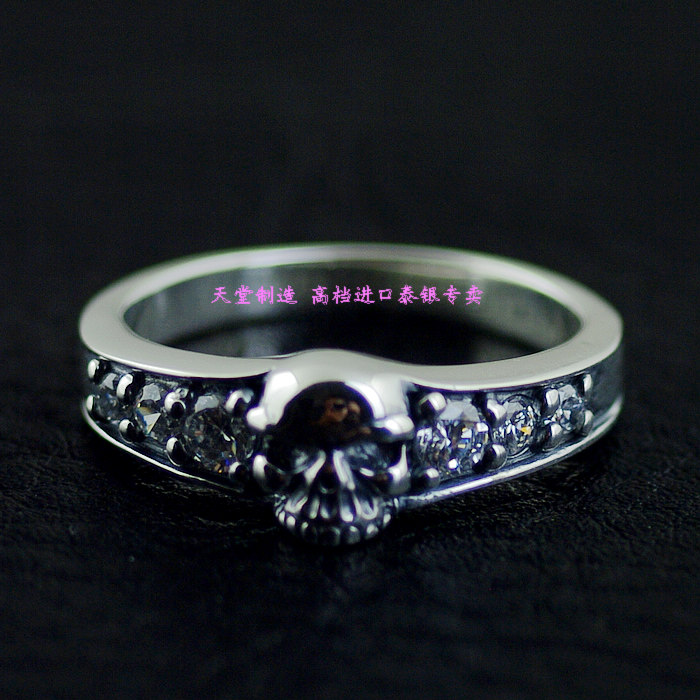 Thailand imports, fine Zircon skull silver ring, ring to do thailand imports skull blood new skeleton silver ring