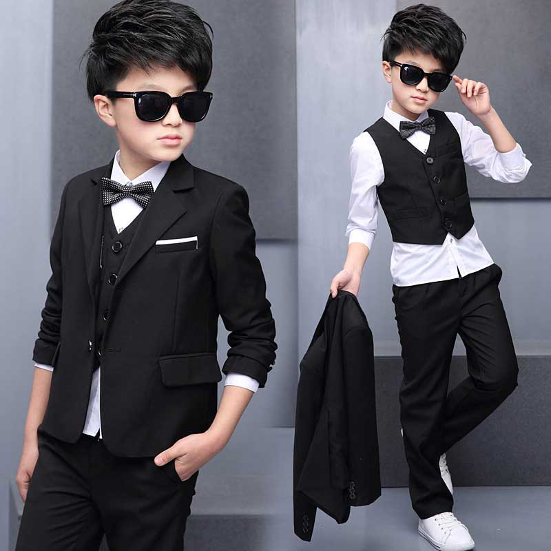 2017 Boys Clothes Sets Gentleman Suit Toddler Boys Formal Suits Boys Suits For Weddings Blazer + Vest + Shirts + Pants + Bowknot children s day summer short sleeve chorus show performance birthday blazer pants shirts blazer pants vest shirts suits sets
