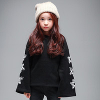 Children's Clothing Korean Winter Clothes Girls More Cotton and Wool Long Fleece Child Star Print Kids Clothing Grey Black