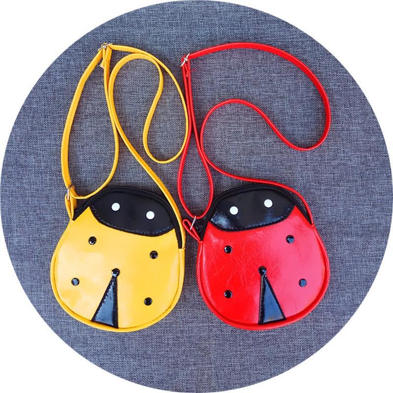 Child Kids Girl Insect Bags PU Leather Handbag Ladybug Bag Small Change Pocket Satchel The shoulder Strap Can Adjust The Length