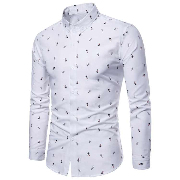 Print Shirt Men 2018 Brand New Long Sleeve Chemise Homme Causal Button Down Mens Dress Shirts Camisa Masculina White Male Shirts
