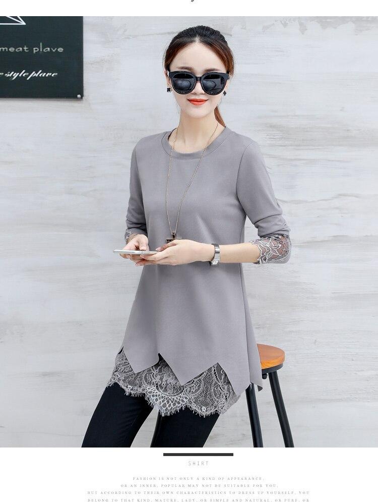 Autumn Winter Basic Shirts Blouses Women Fashion Long Sleeve Long Tops  Patchwork Hollow Out Crochet Black Lace Tunic Blouse 9011 ... 9b3b53eb4949
