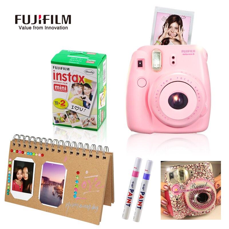 Fujifilm Fuji Instax Mini 8 Instant Film Photo Camera 20 Sheets Film return to the ancients DIY Photo album 2 painting pen gift