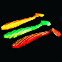 WALK FISH 10PCS/Lot Paddle Tail Soft lure 70mm 2.6g T Tail Fishy Smell Worms Lure Fishing Bass Sea Fishing Bait Plastic Maggot (Copy)