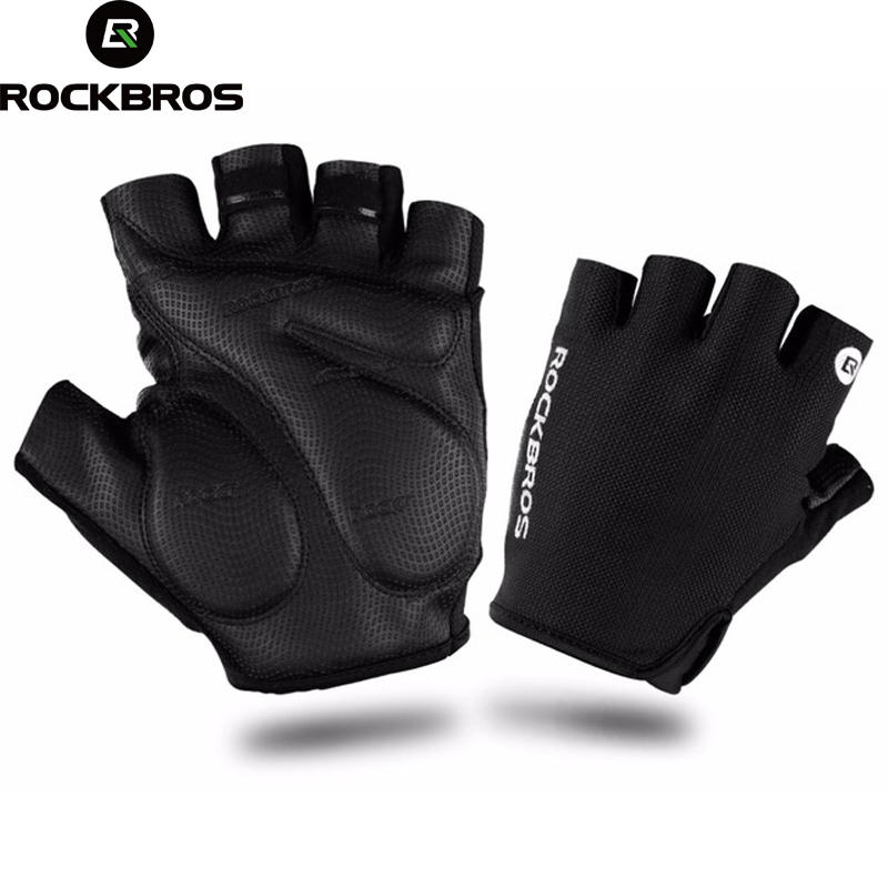ROCKBROS Cycling Gloves Sports Summer Breathable Half Finger Gloves Shockproof MTB Mountain Bicycle Gloves Men Cycling Clothings