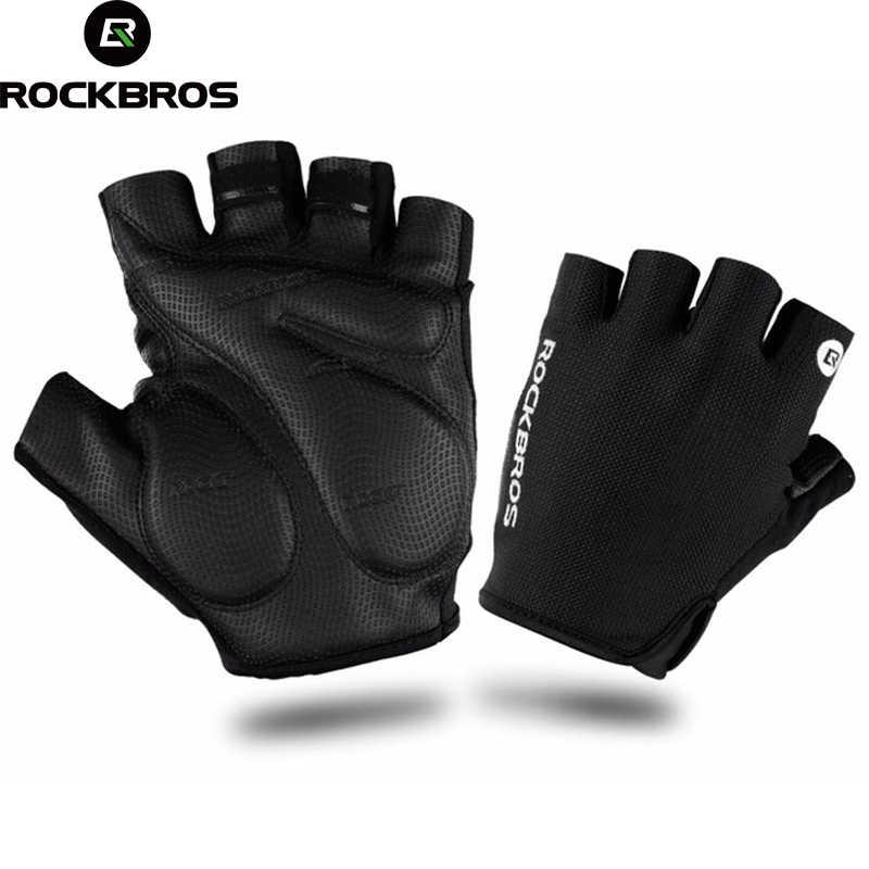 Rockbros luvas de ciclismo esportes verão respirável metade do dedo luvas à prova de choque mtb mountain bike luvas men ciclismo roupas