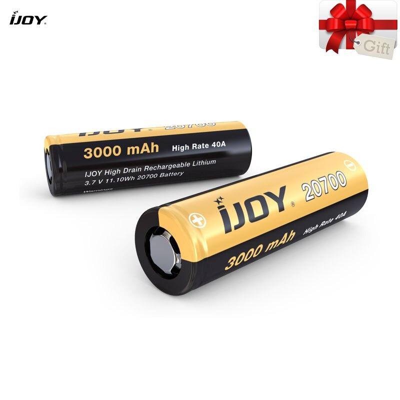 100% Original IJOY 20700 batterie 3000mAh capacité 3.7V 40A pour double 20700 boîte Mod Vape Rechargeable haute vidange batterie au Lithium