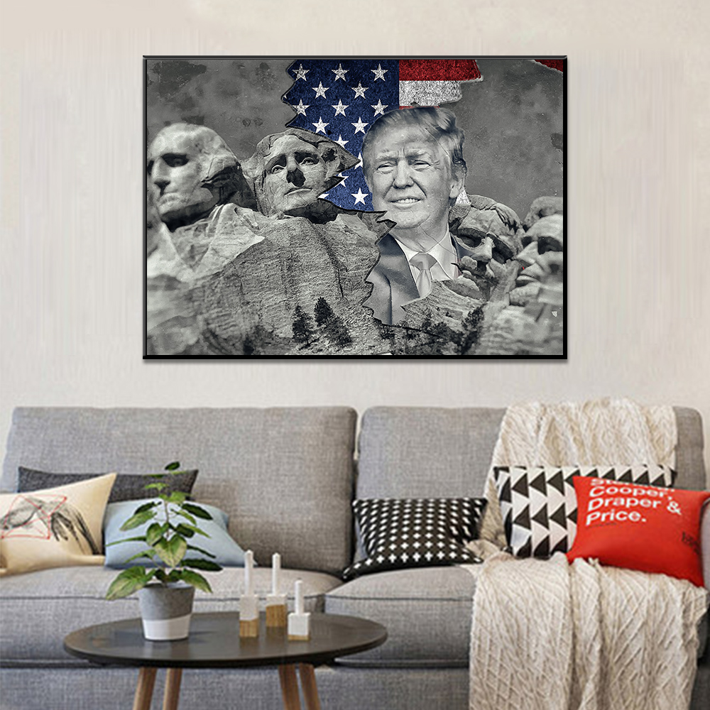 Unframed Art Canvas Painting American Flag Donald Trump President Hill Prints Wall Pictures For Living Room Wall Art Decoration
