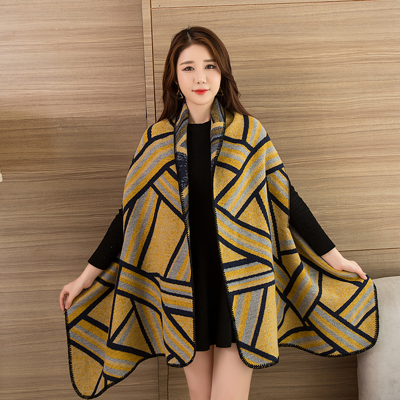 Women Winter   Scarf   Stoles Long Blanket Ladies Winter Wearable Poncho Warm Wool Ponchos Capes Long   Scarf     Wrap   Thicken Women Capes