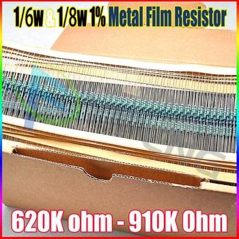 1 лот = 5000 шт. из металла Плёнки осевой Резисторы 1% 1/8 Вт 0.125 Вт 1/8 Вт = 1/6 Вт 620 К 680 К 750 К 820 К 910 К сопротивление
