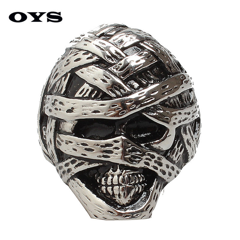 New Arrival Retro Gothic Mummy Skull Ring Titanium Punk Rock Rings Men Stainless Steel Cool Skeleton Rings