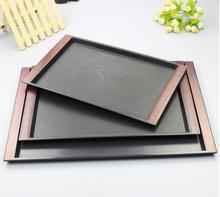 Japanese style rectangle plate pallet quality black plastic tray slip-resistant binaural tray