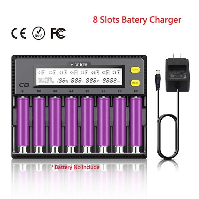 Batterij Oplader 18650 Miboxer 8 Slots 4 Slots LCD Display 1.5A voor Li-Ion LiFePO4 Mh Ni-Cd AA 21700 20700 26650 18350 17670