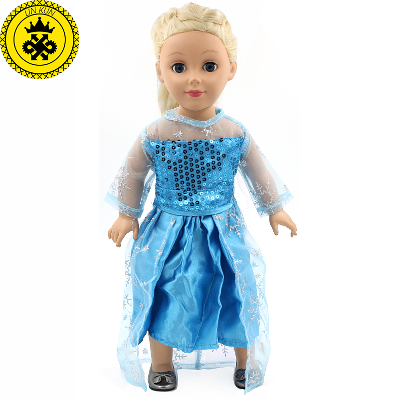American Girl Dolls Clothing Elsa Blue Lace Long Dress Doll Clothes of 18 inch Doll Party Dress Accessories MG83-84 my generation doll clothes multicolor princess dress doll clothes for 18 inch dolls american girl doll accessories 15colors d 14