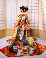 Роскошный комплект из 10 предметов, женское кимоно высокого качества, классическое юката, с принтом, в японском стиле, женское вечернее плать