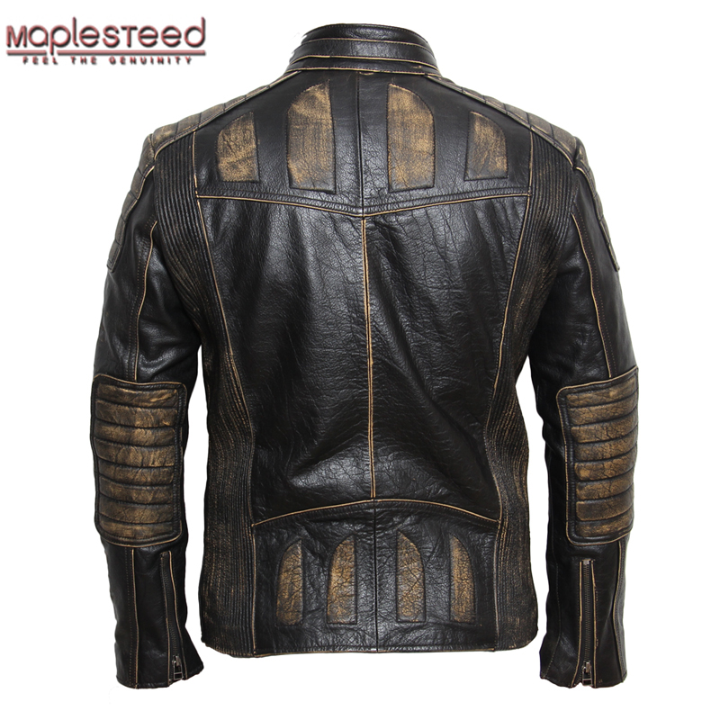 MAPLESTEED Vintage Motorcycle Jacket Men Leather Jacket 100% Cowhide Genuine Leather Jackets Mens Biker Coat Moto Jacket 5XL 090
