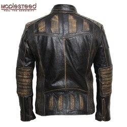 MAPLESTEED Vintage Motorrad Jacke Männer Leder Jacke 100% Rindsleder Echtes Leder Jacken Herren Biker Mantel Moto Jacke 5XL 090