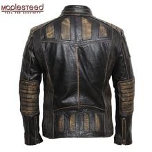 MAPLESTEED Vintage motocykl kurtka mężczyźni skórzana kurtka 100% skóry wołowej prawdziwej kurtki męskie kurtka na rower Moto kurtka 5XL 090