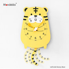 Mandelda New Arrival Tigger Cartoon Swing Clock on Wall Handmade Lovely Creative Animal Watches for Livingroom/Bedroom
