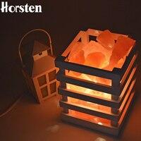 HOT Air Purifier Resin Himalayan Crystal Salt Lamp Table Lamp Light Wood Frame Night Light Lamps