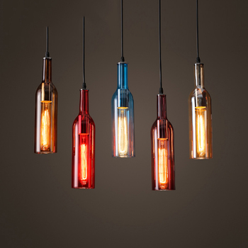 Personalized LED Bottle pendant lights restaurants bars clothing stores colored beer bottles decorative pendant lamps ZA GY270
