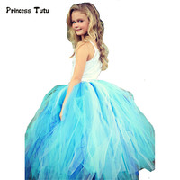 Handmade Blue Baby Girls Tutu Skirt Ankle Length Kids Dance Skirt Ballet Tulle Tutu Skirt For