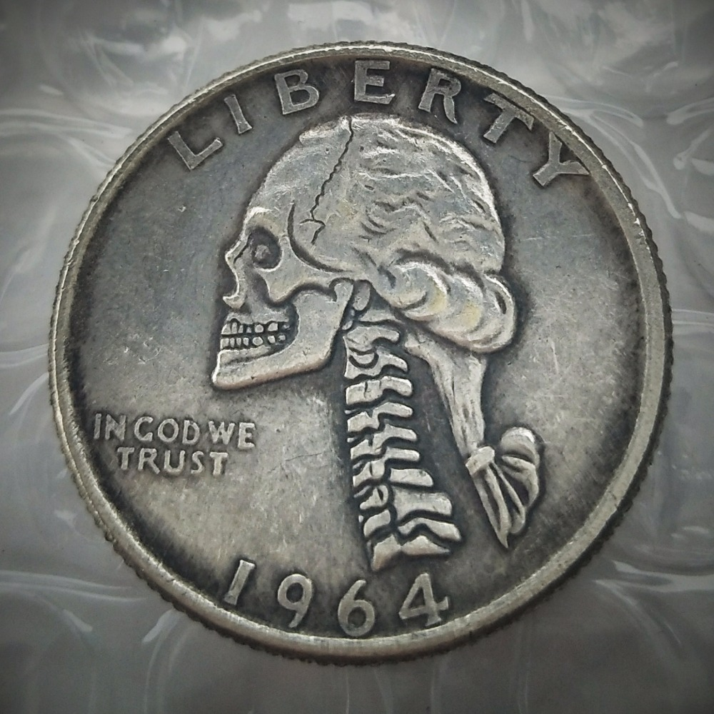 W(06) Hobo Creative 1964D Washington Quarter Dollars skull zombie skeleton hand carved Copy Coins
